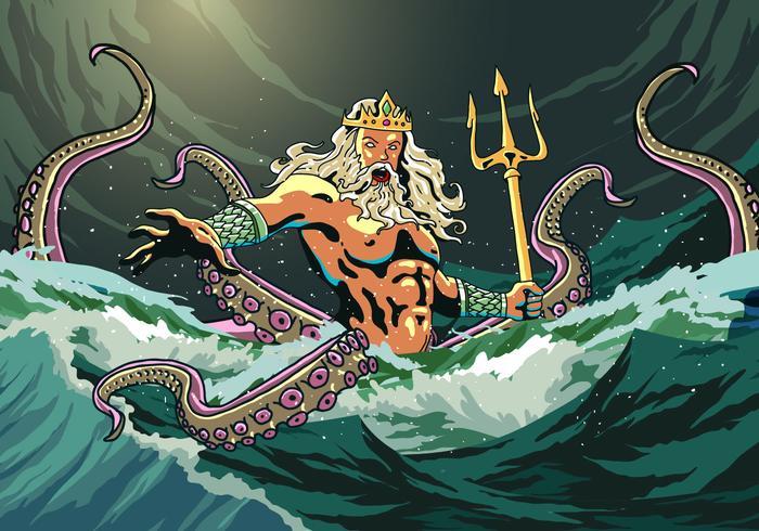 Poseidone Esce Dal Mare vettore