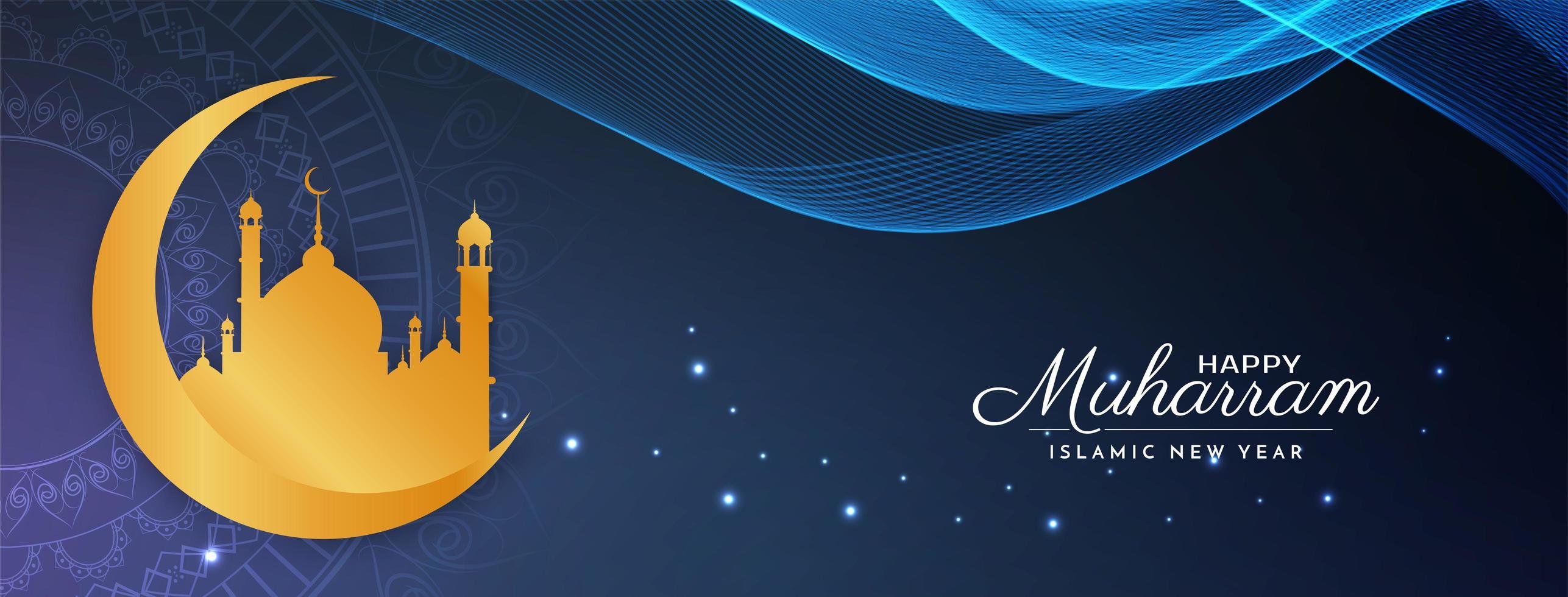 design elegante banner blu muharram felice ondulato vettore