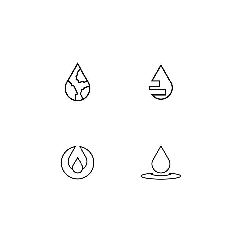 set di icone pittogramma goccia d'acqua vettore