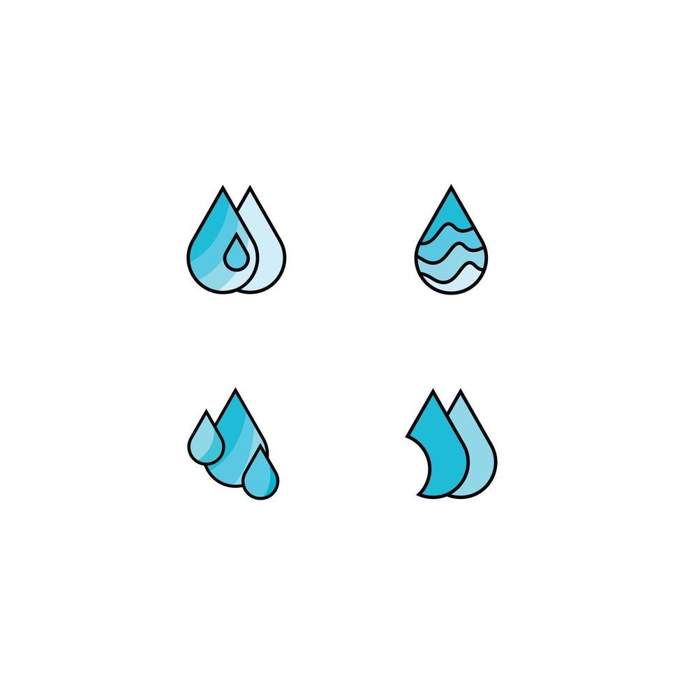 icon pack pittogramma goccia d'acqua a colori vettore