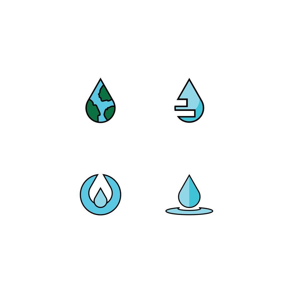set di icone di pittogramma goccia d'acqua a colori vettore