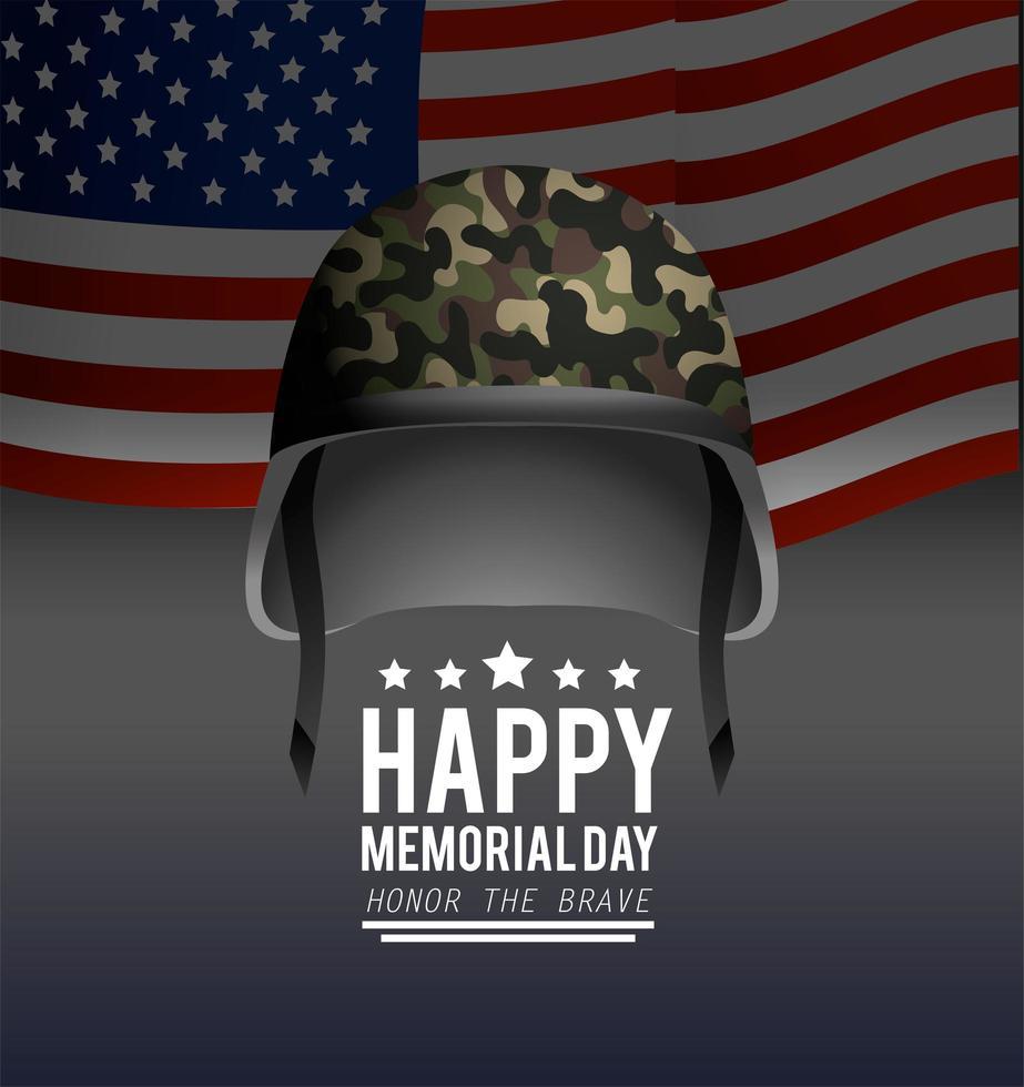 biglietto di auguri del memorial day con elmo militare e bandiera vettore