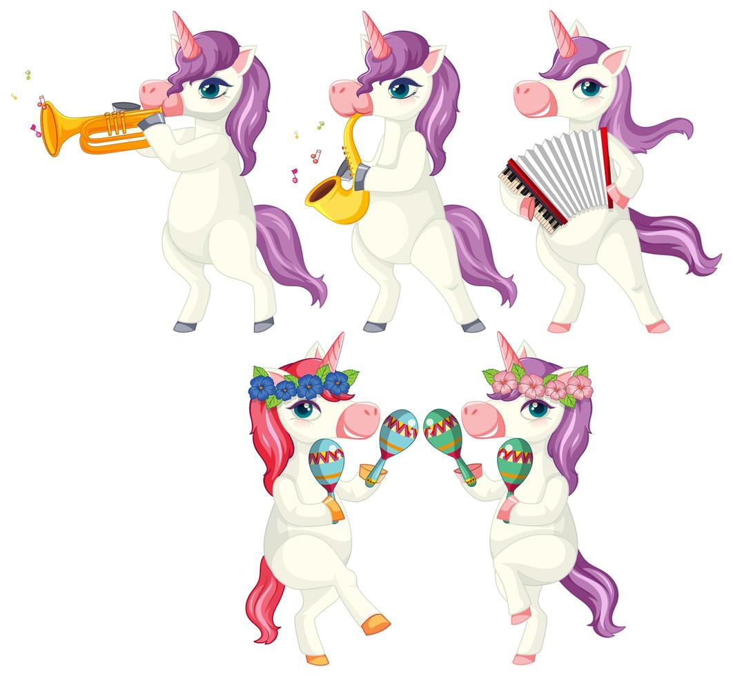 set di musicista unicorno vettore