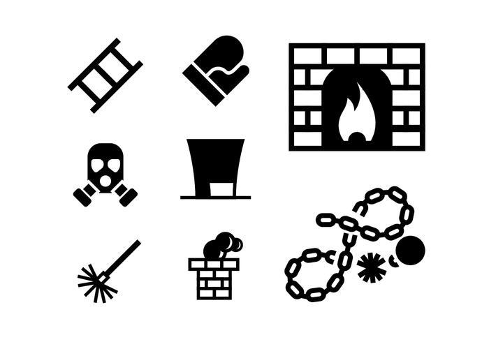 Set di icone di camino e riscaldamento carbone vettore