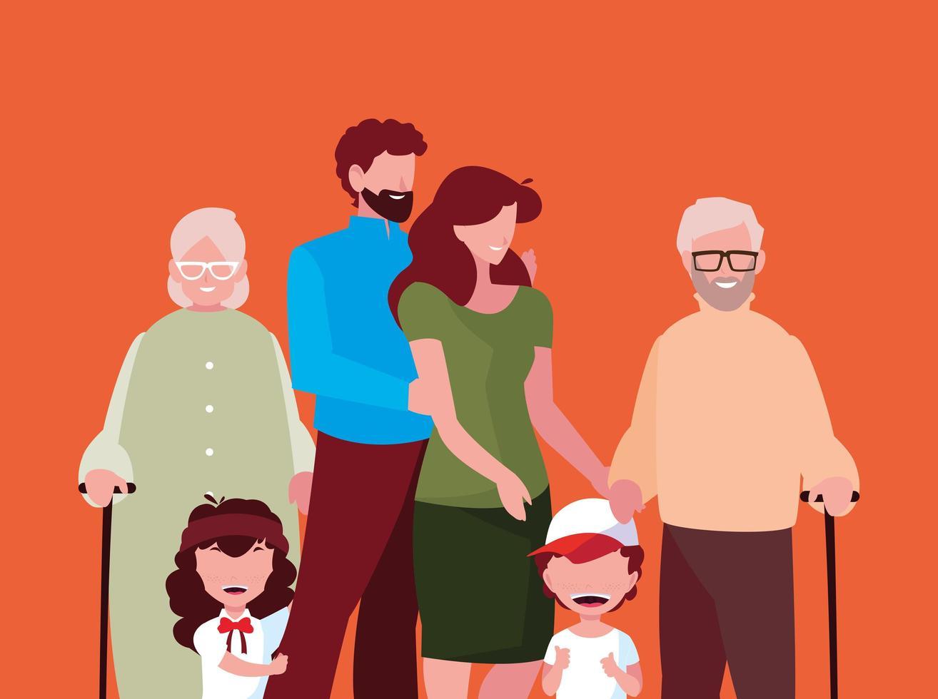personaggi dei membri della famiglia vettore