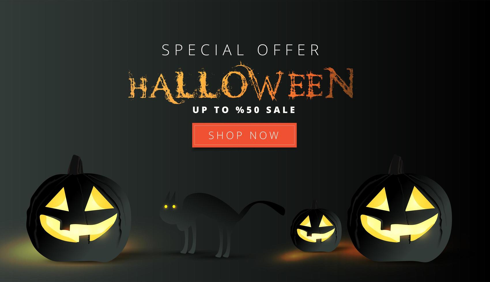 banner di vendita di halloween con zucche nere e gatto vettore