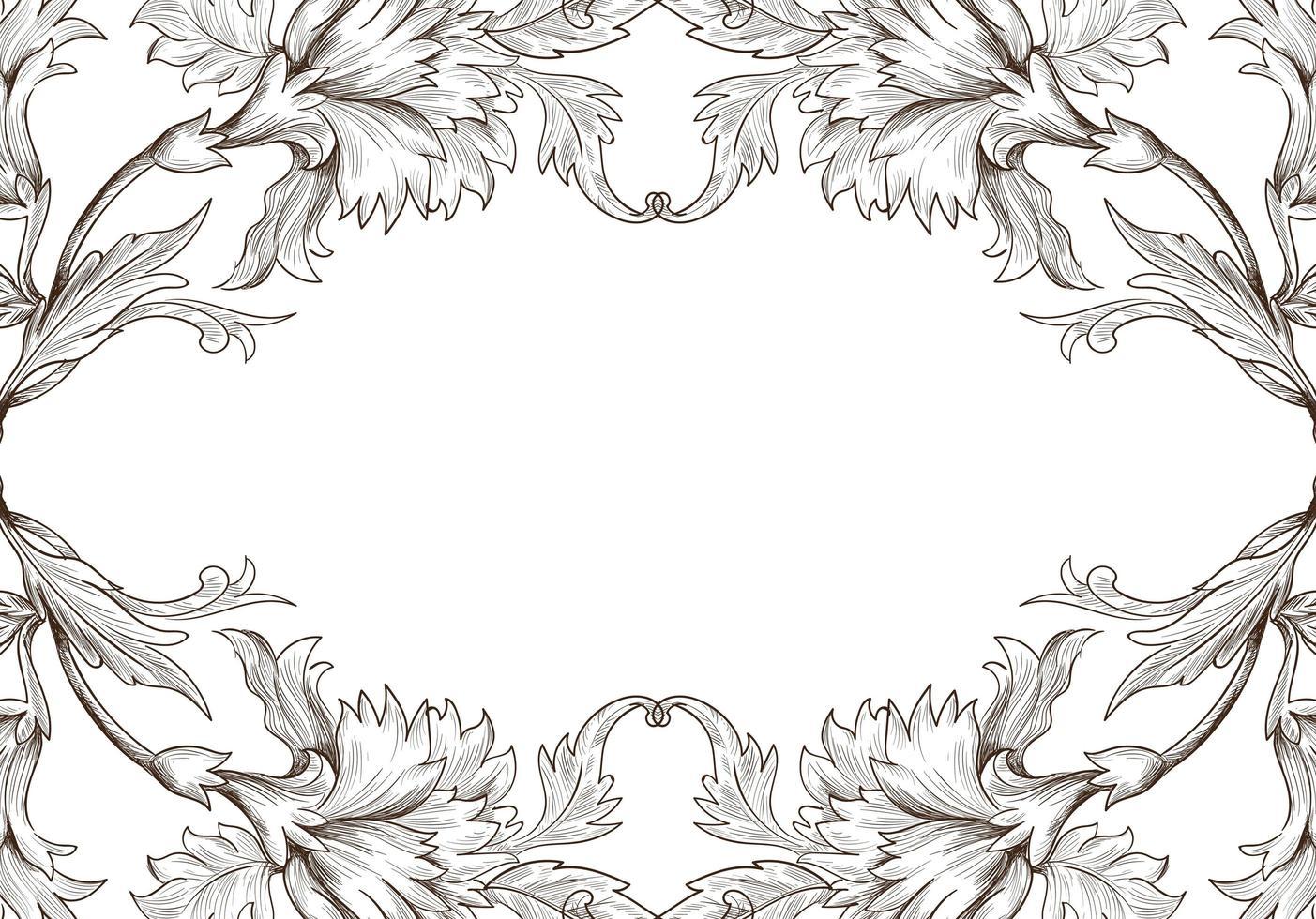 cornice floreale schizzo decorativo artistico vettore