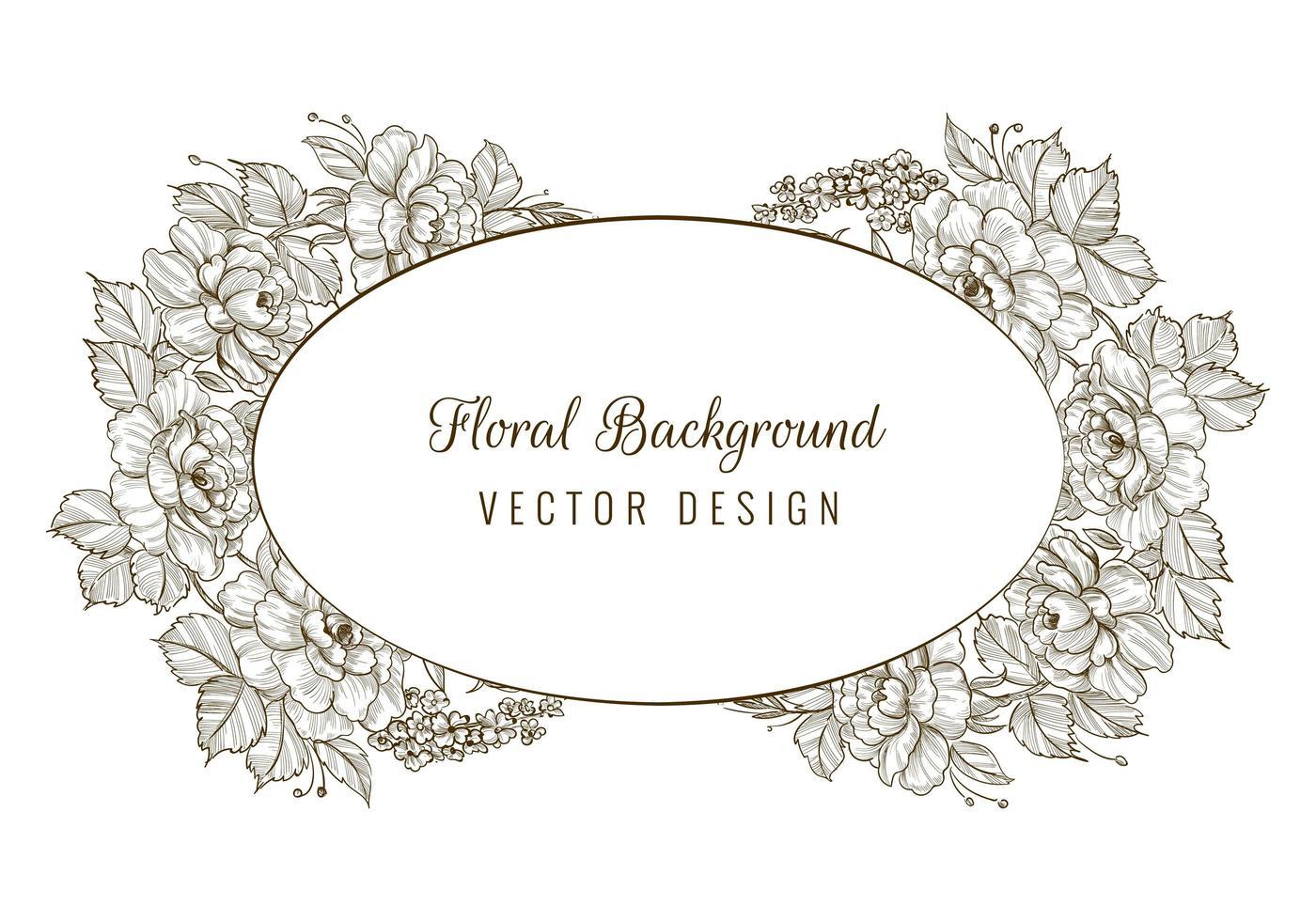 cornice di carta floreale schizzo decorativo ovale vettore