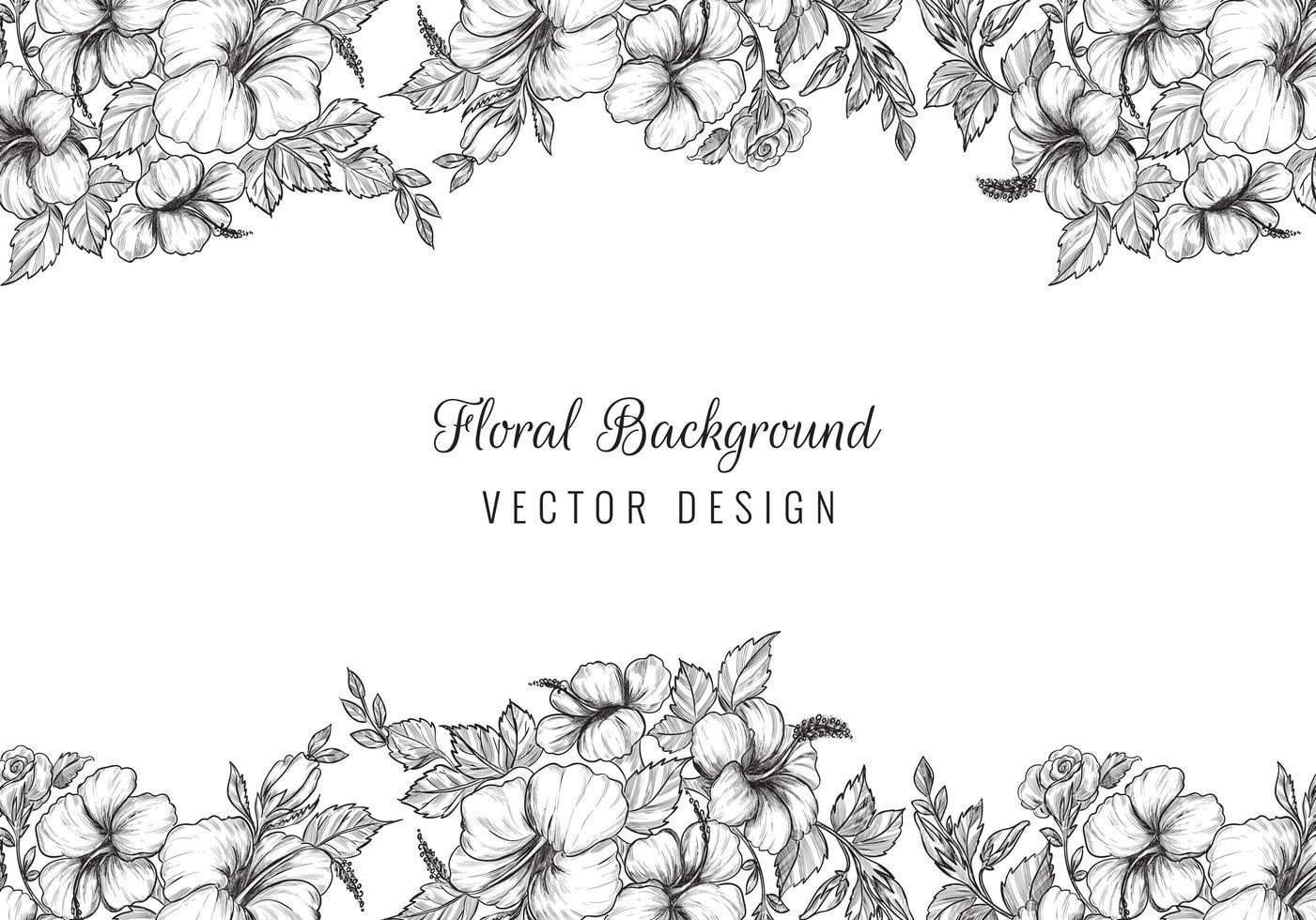 design elegante bordo nero schizzo floreale vettore