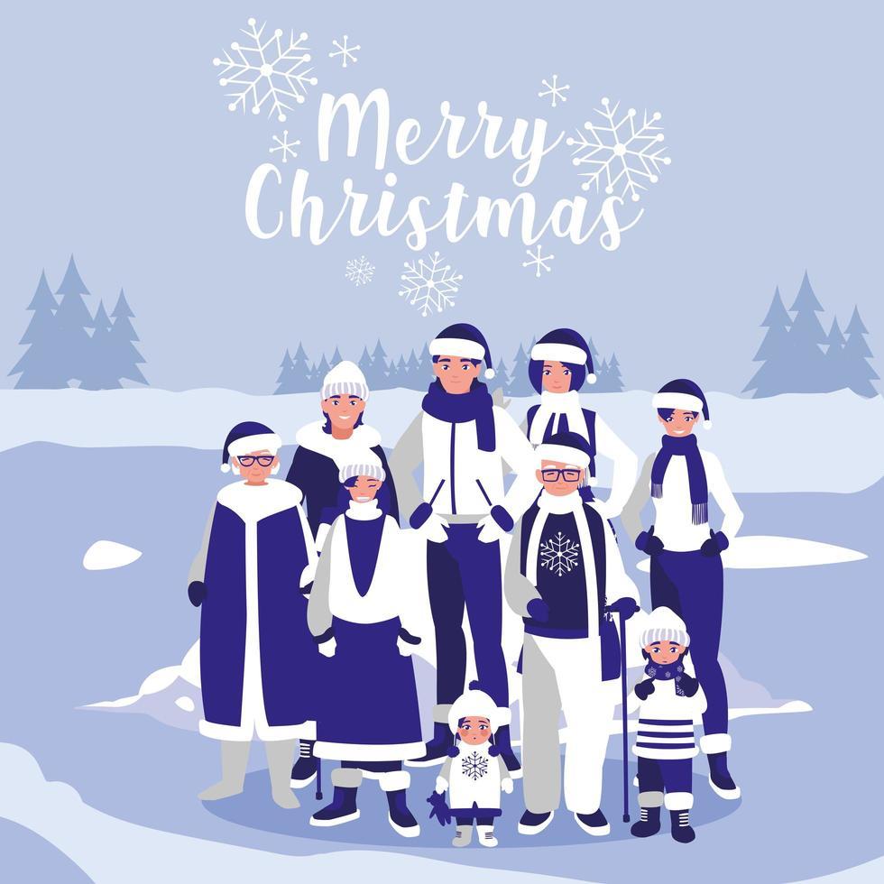 gruppo di famiglia con abiti di Natale nel paesaggio invernale vettore