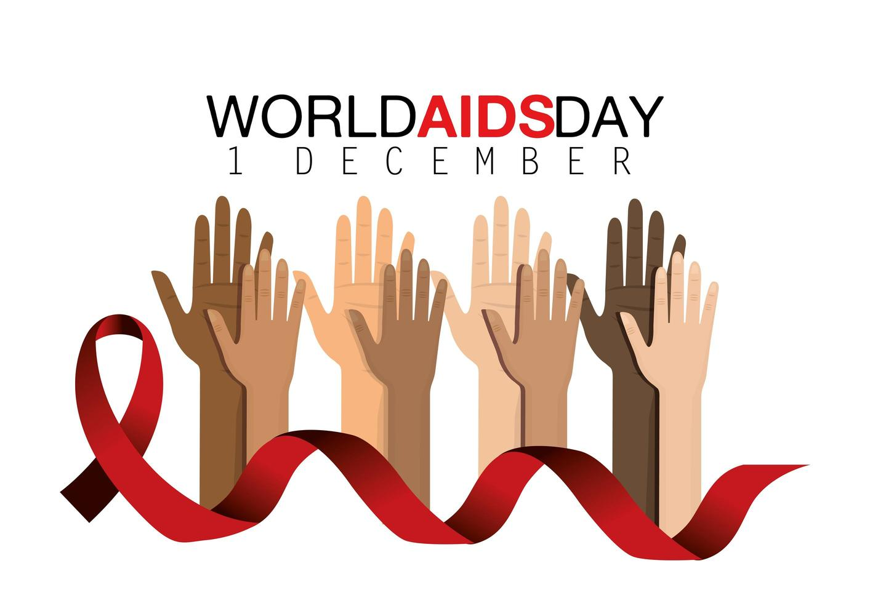 campagna mondiale contro l'AIDS con mani e nastro vettore