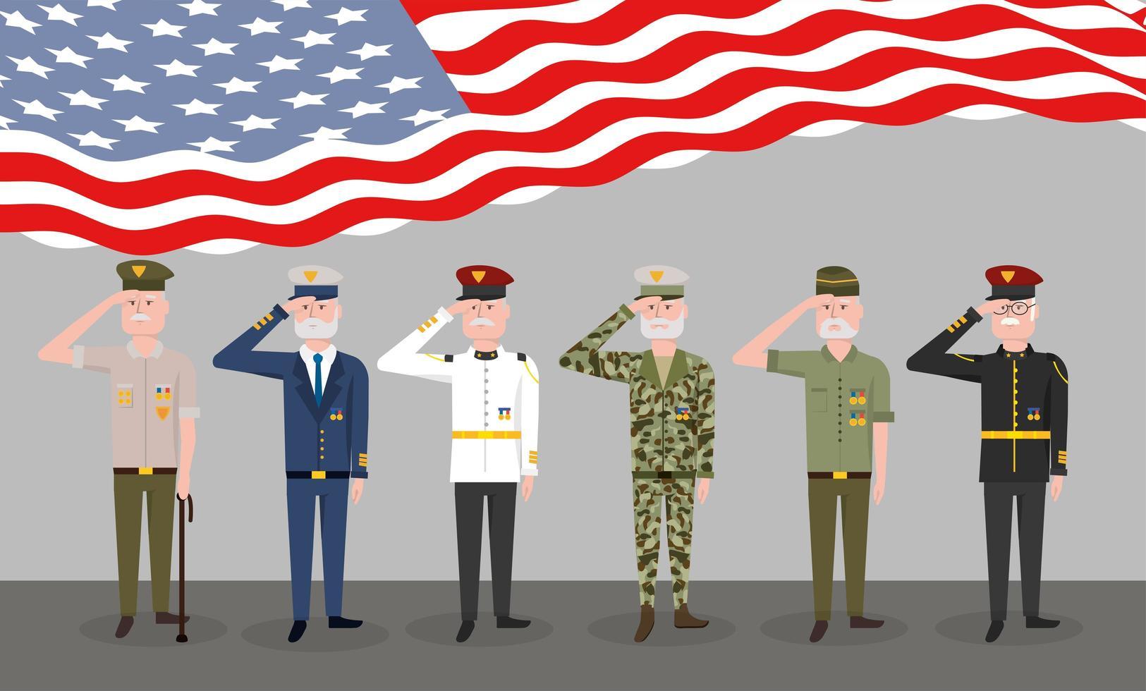 set di veterani militari e bandiera vettore