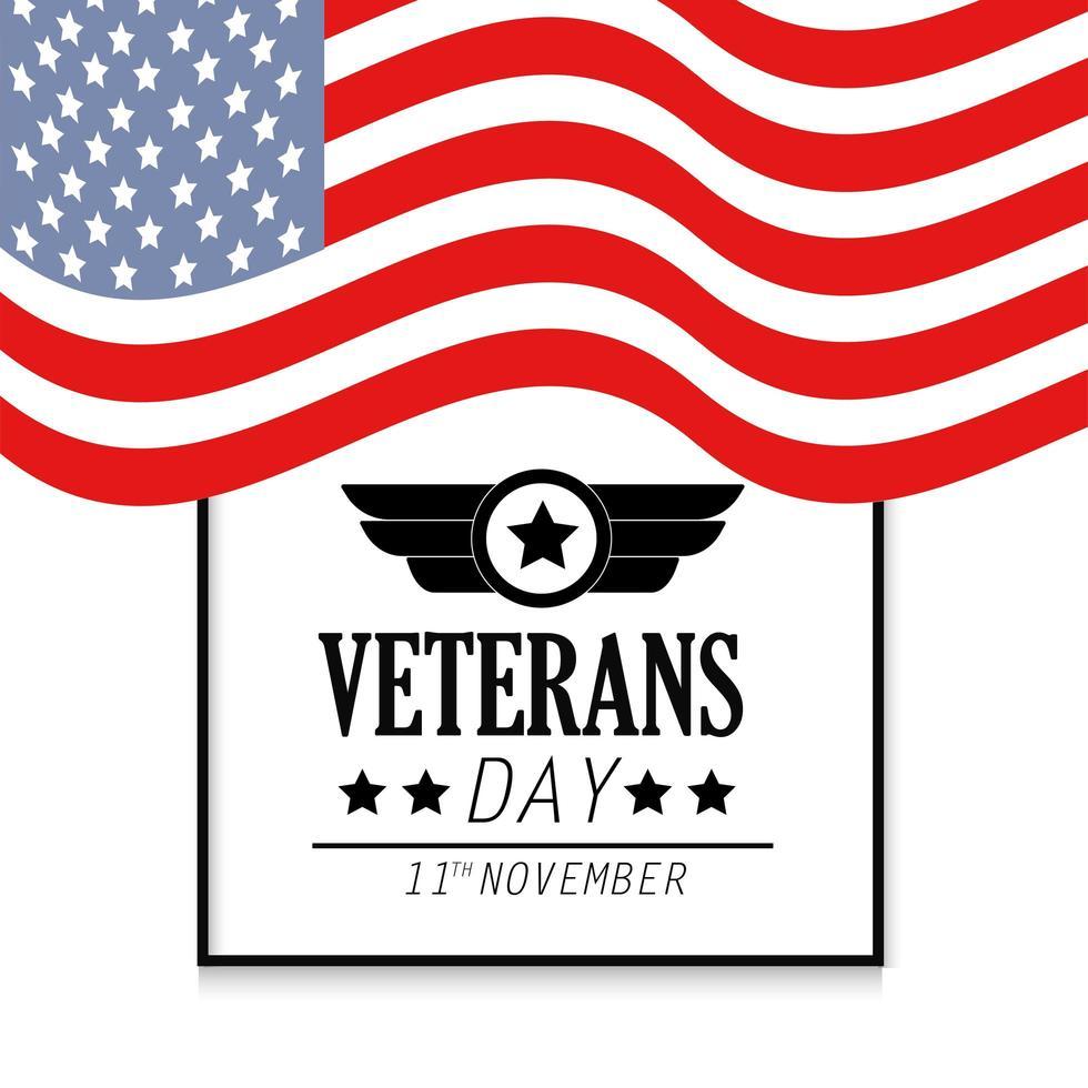 banner del giorno dei veterani con bandiera degli stati uniti vettore