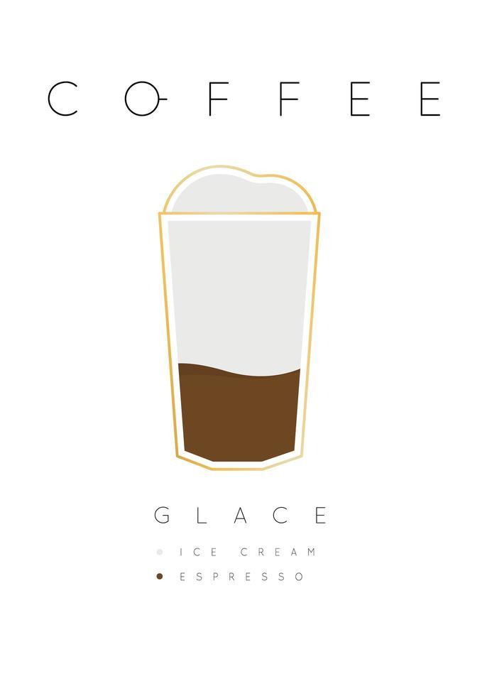 poster lettering caffè glace con ricetta bianco vettore