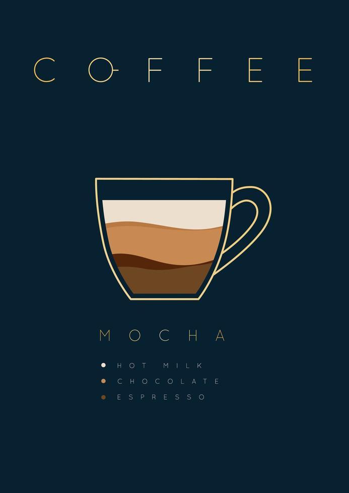 poster lettering caffè moka con ricetta vettore