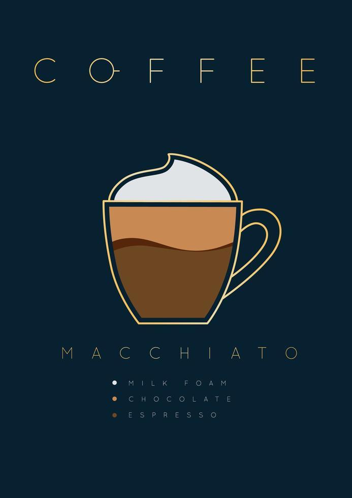 poster lettering caffè macchiato con ricetta vettore