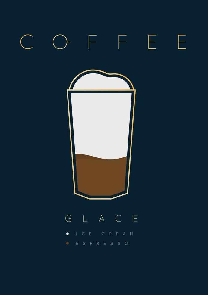 poster lettering caffè glace con ricetta vettore