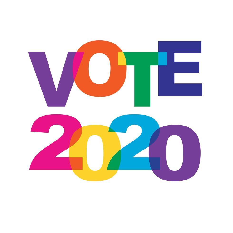 votare la tipografia sovrapposta dei colori dell'arcobaleno 2020 vettore