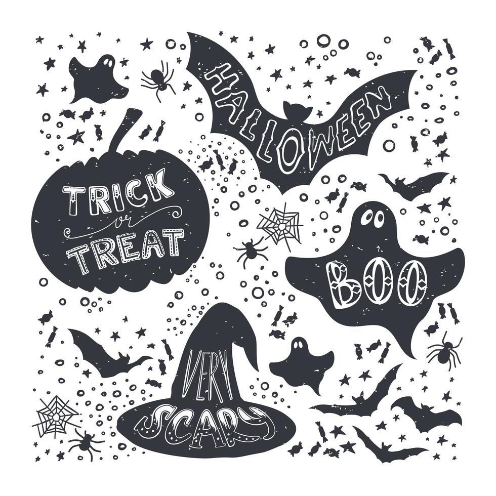set di simboli di halloween disegnati a mano vettore