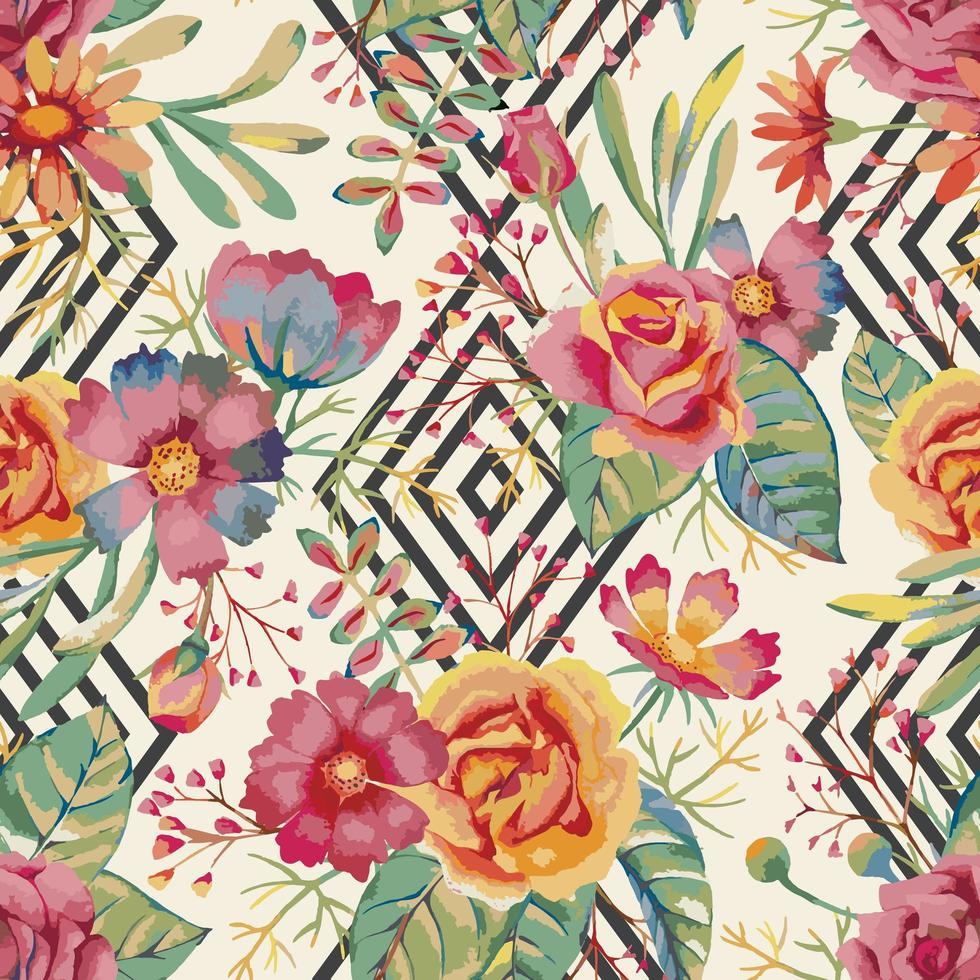 acquerello fiore e diamante seamless pattern vettore