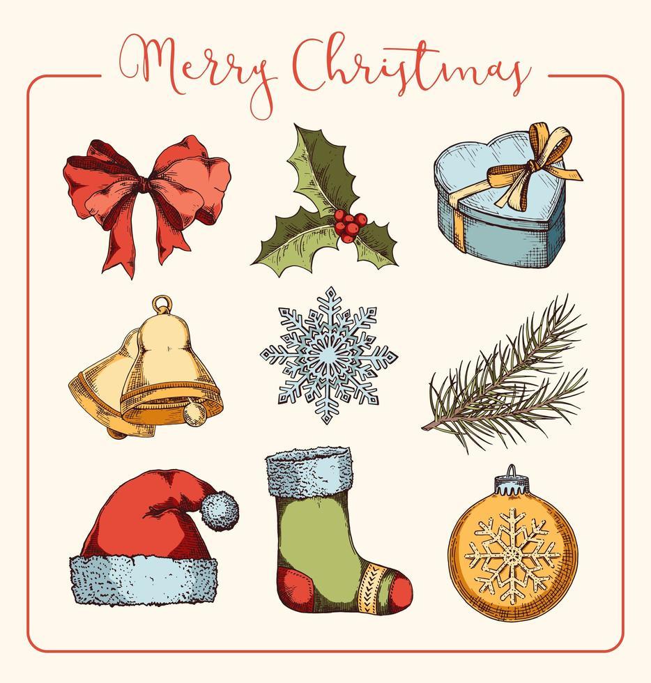 set di articoli natalizi disegnati a mano vettore
