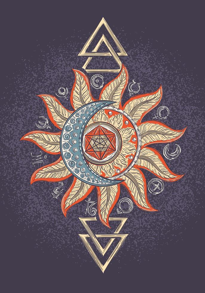 poster di segno magico di alchimia vettore
