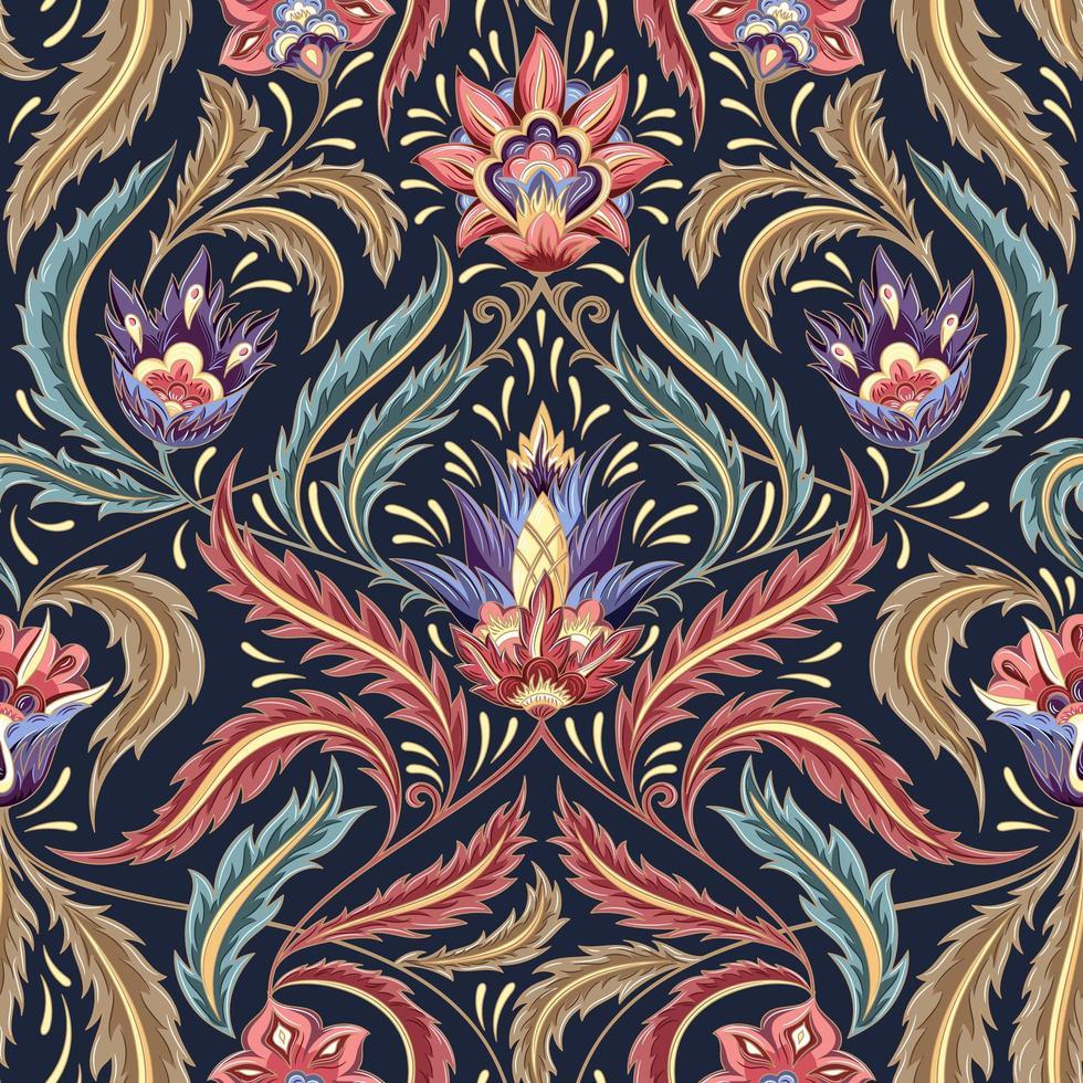 motivo decorativo floreale vittoriano colorato vettore