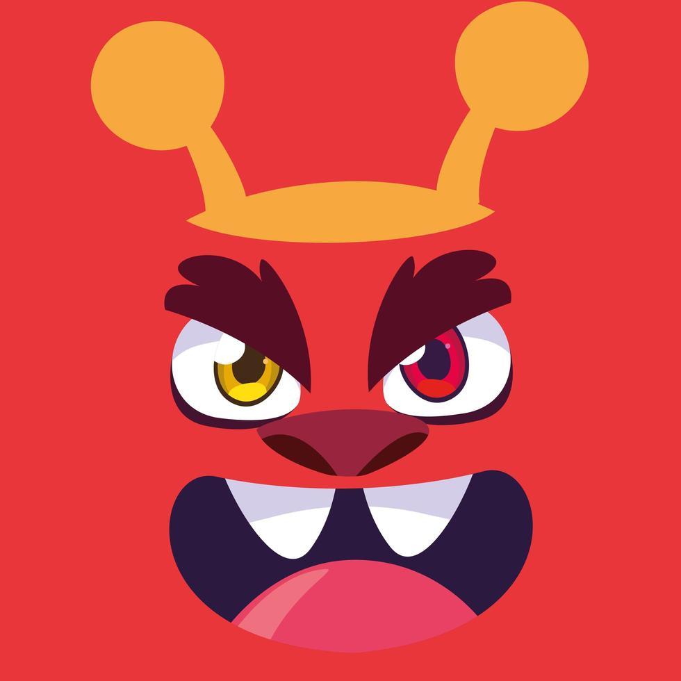 icona del design del fumetto mostro rosso vettore