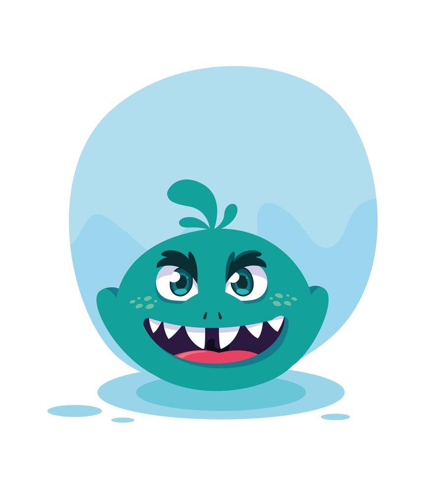 icona del design del fumetto mostro blu vettore