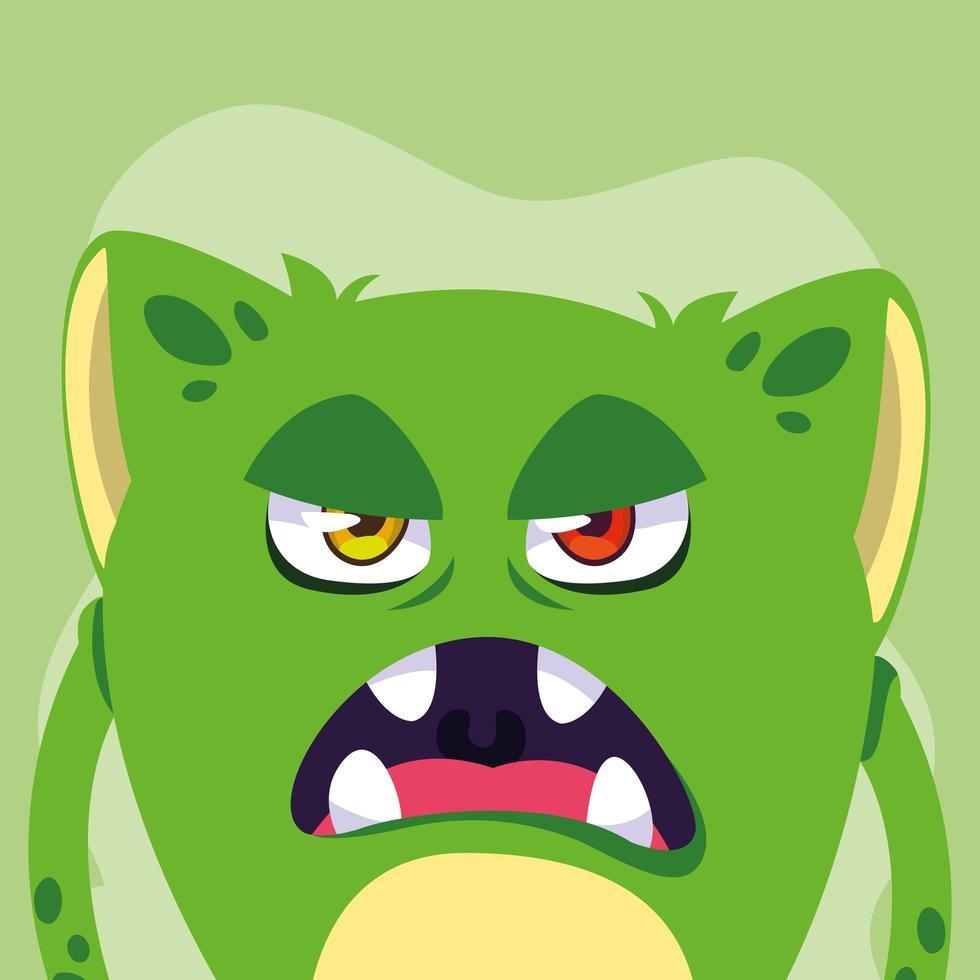 icona del design del fumetto mostro verde vettore