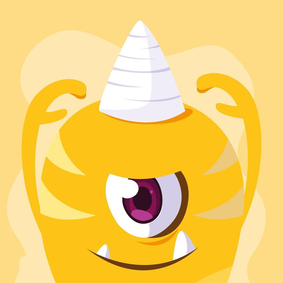 icona del design del fumetto mostro giallo vettore