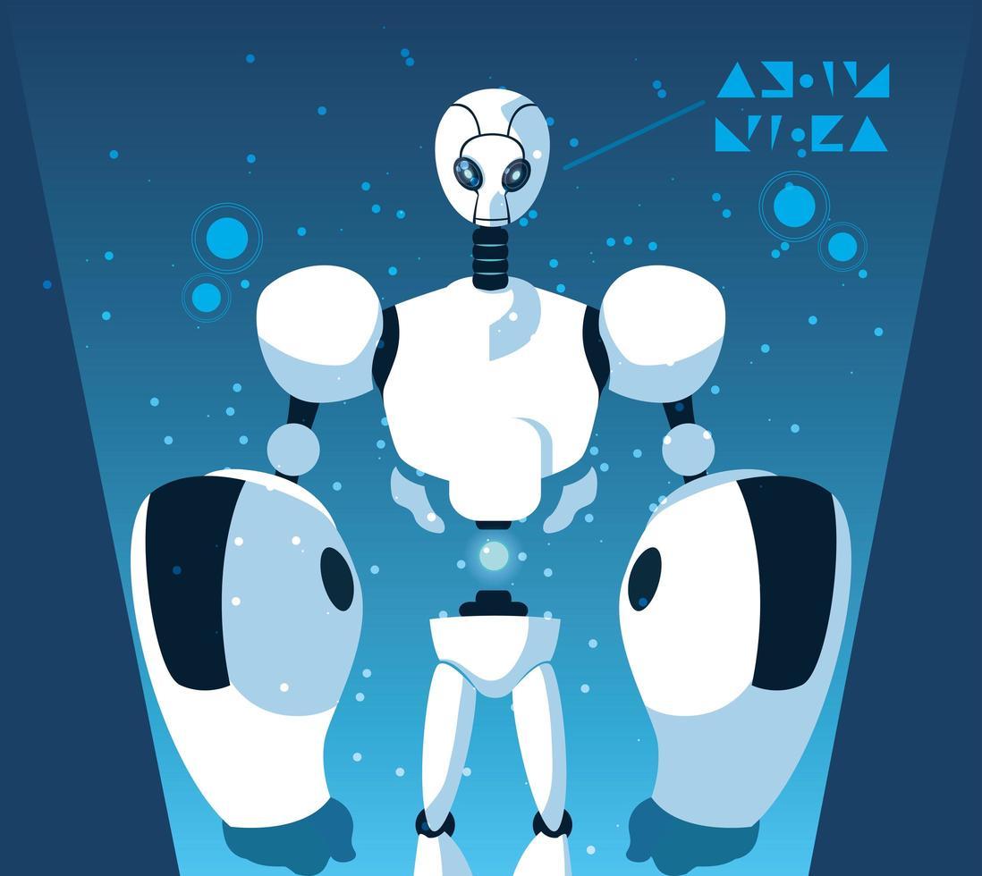 cartone animato robot su sfondo blu vettore