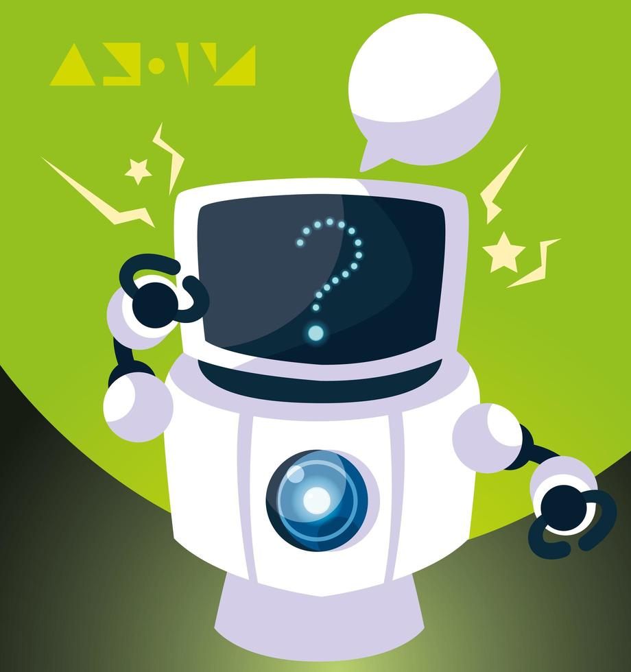 cartone animato robot su sfondo verde vettore