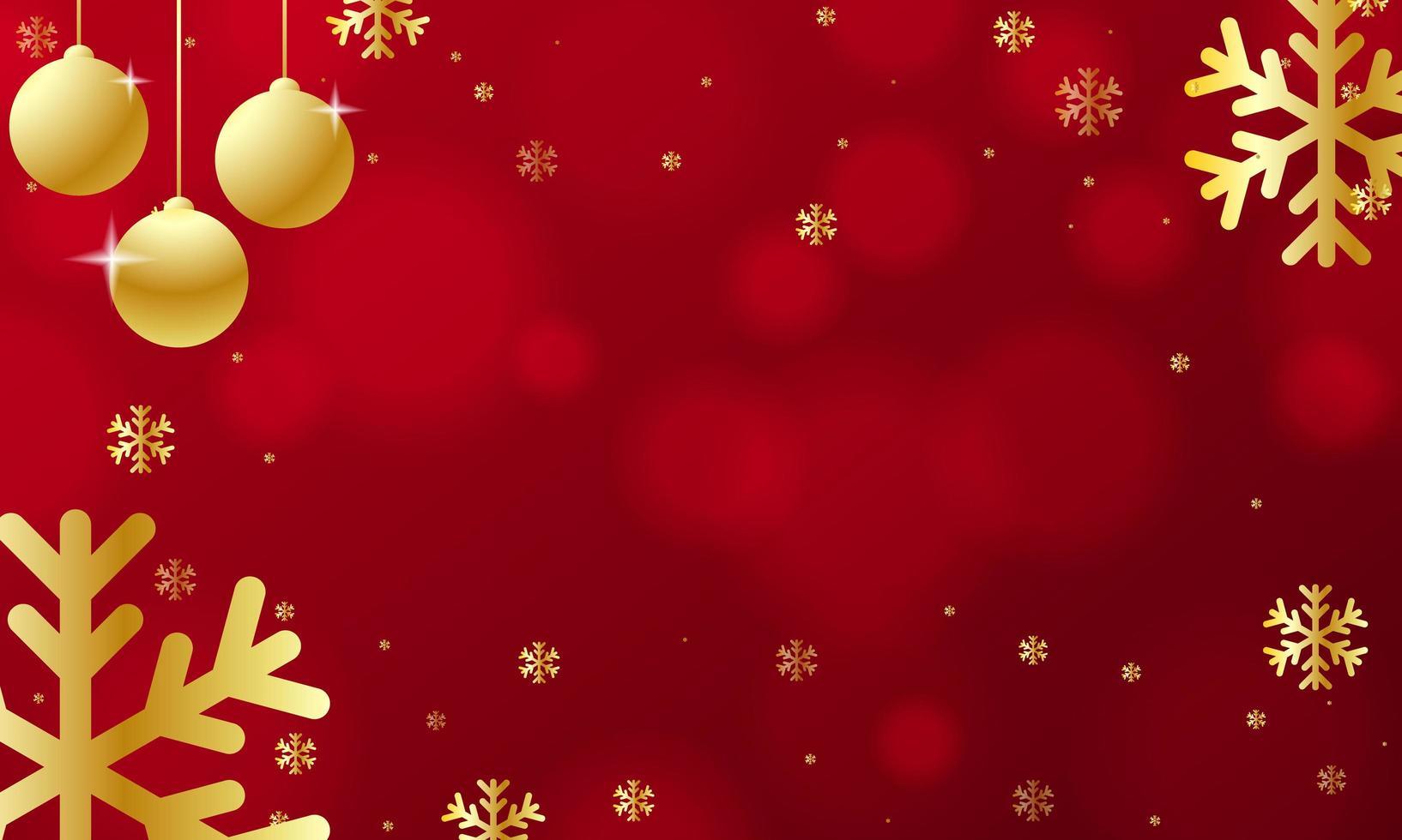 ornamenti dorati di natale e fiocchi di neve su bokeh rosso vettore