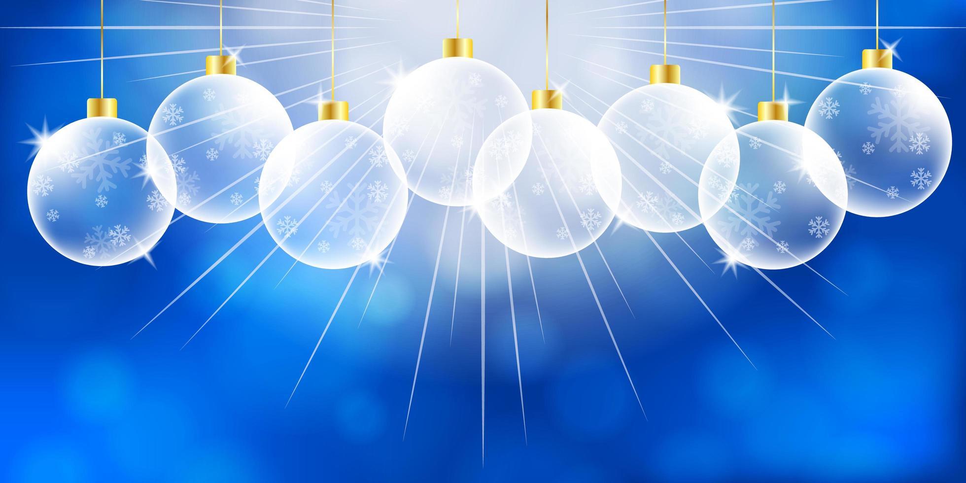 splendente ornamenti natalizi su bokeh blu vettore