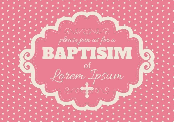 Carino Pink Baptisim Card vettore