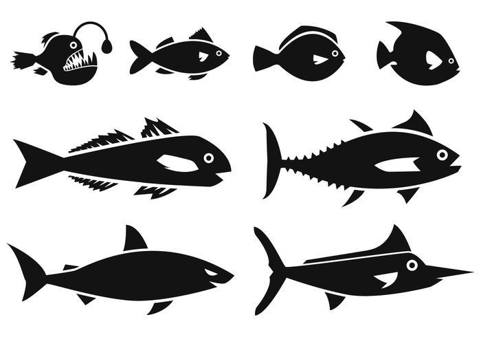 Vettore delle icone del pesce dell'oceano