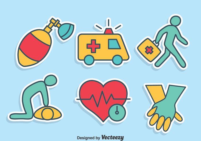 Insieme di vettore delle icone del pronto soccorso disegnato a mano