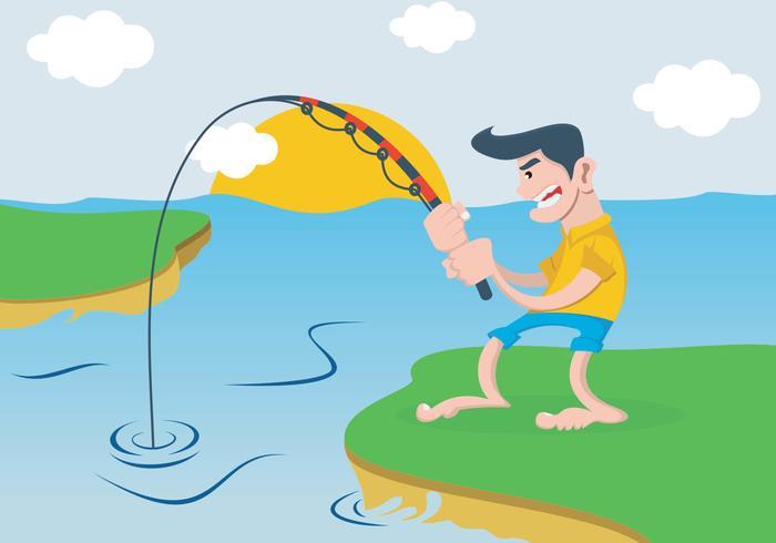 Un uomo che pesca nel fiume vettore