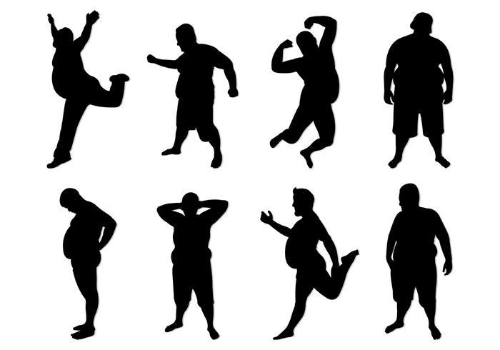 Set di Fat Guy Silhouettes vettore