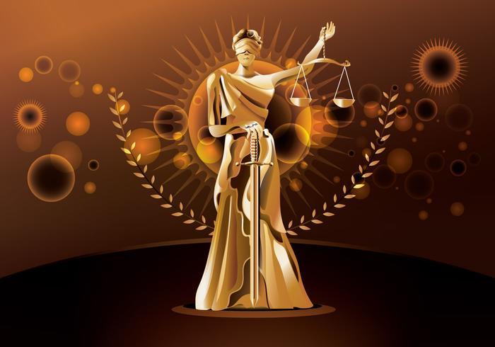 Statua di giustizia su sfondo marrone vettore