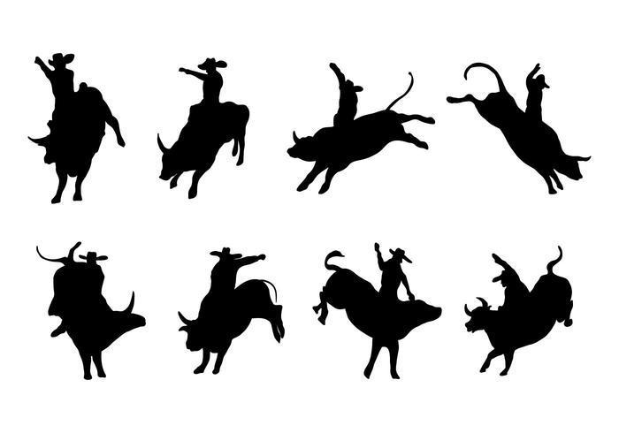 Silhouette Bull Rider Vector gratuito