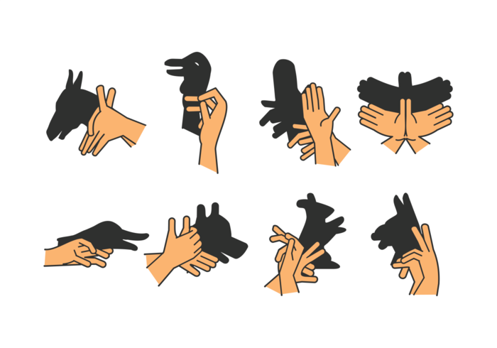 set of shadow hand puppet vol. 3 vettore