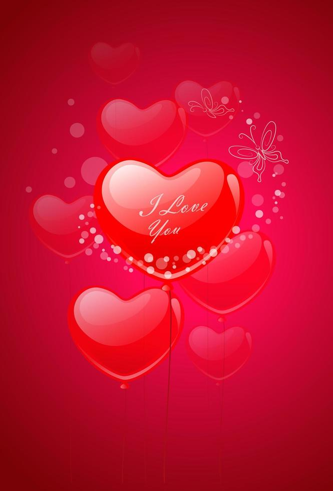 palloncini cuore di San Valentino che volano vettore