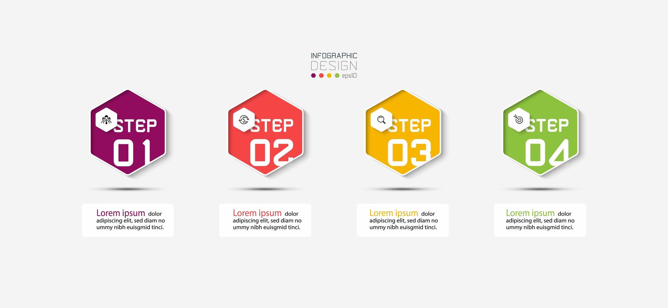 progettazione infografica presentazione esagonale vettore
