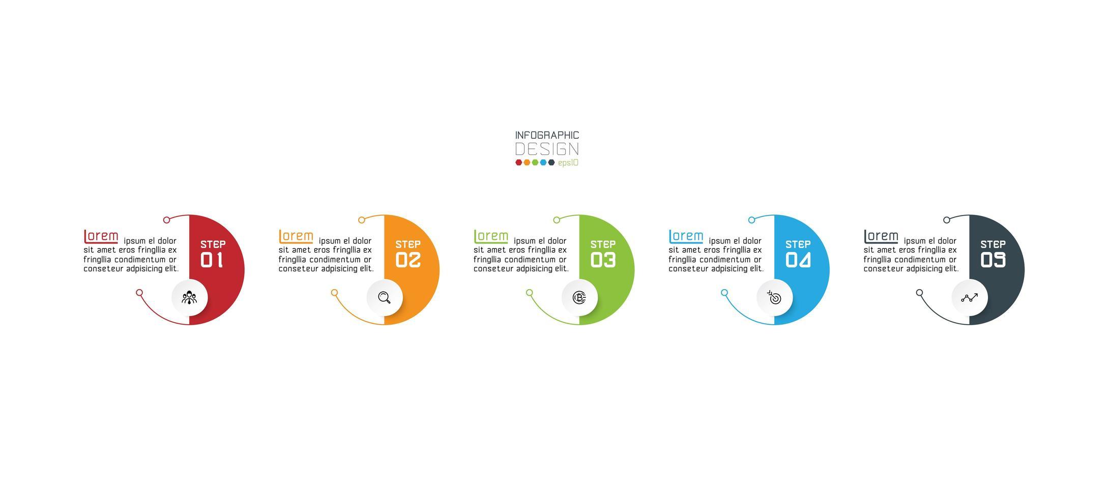 cerchi moderni, modello di progettazione infografica vettore