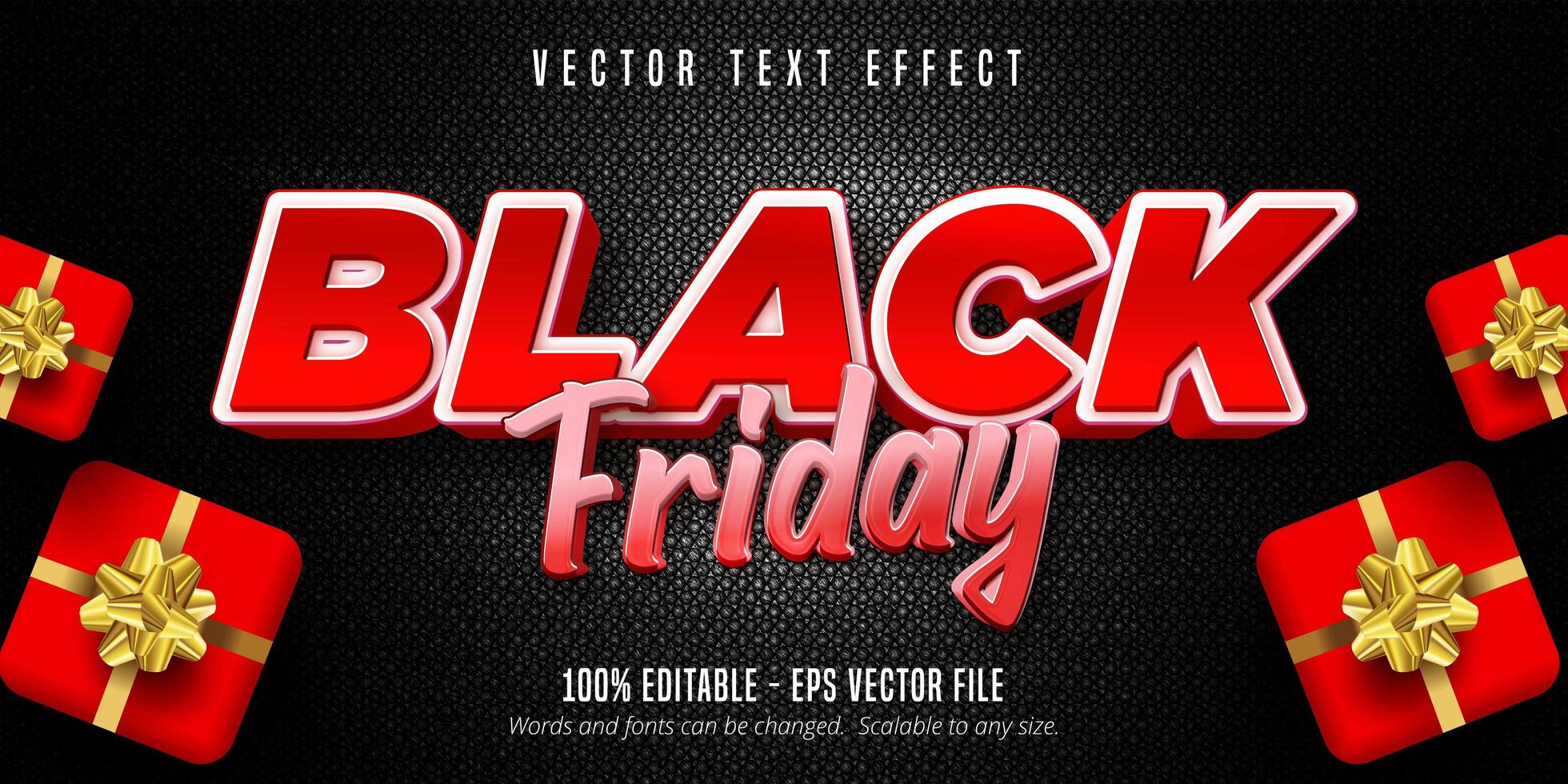 effetto di testo modificabile venerdì nero rosso e bianco vettore