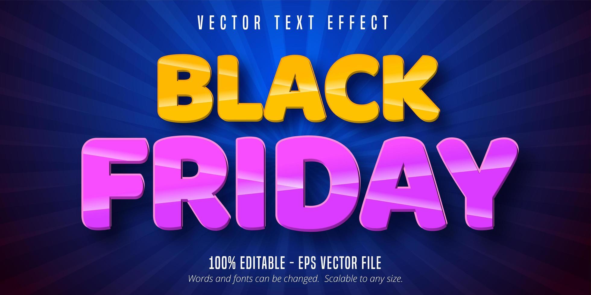 effetto di testo modificabile venerdì nero arancione e viola vettore