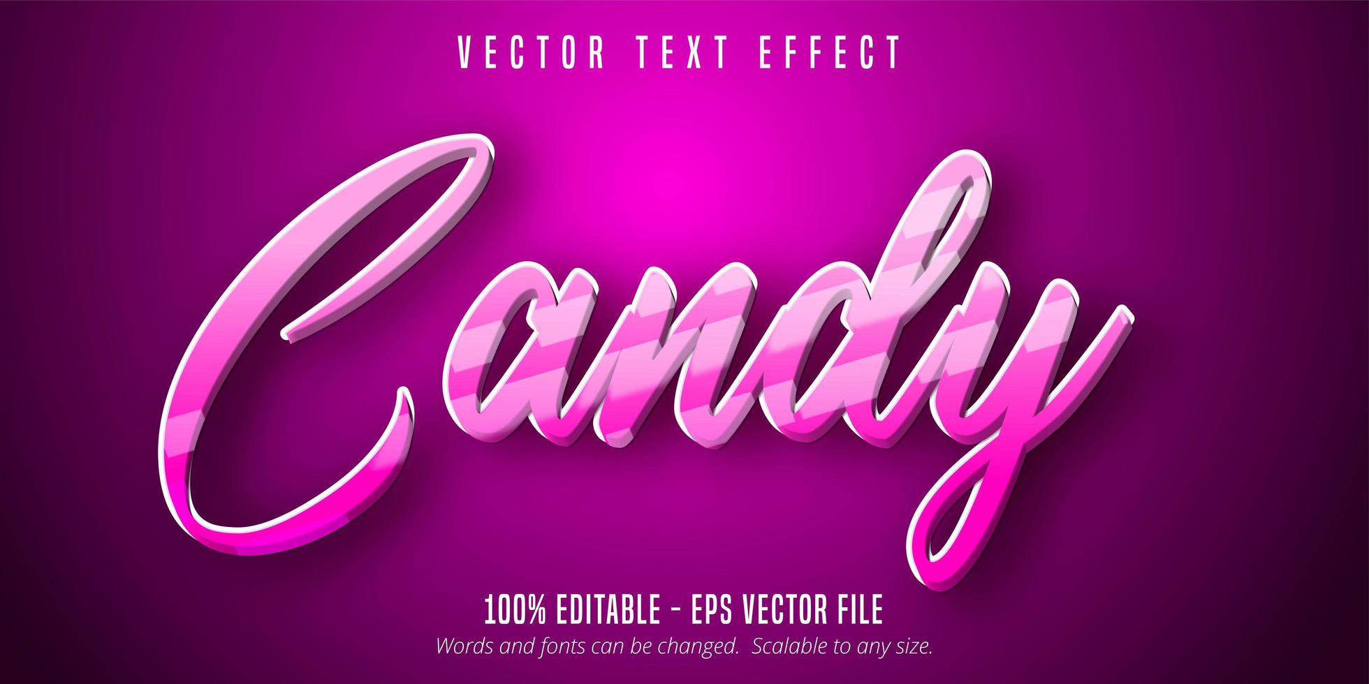 effetto di testo modificabile in stile cartone animato a strisce rosa caramelle vettore