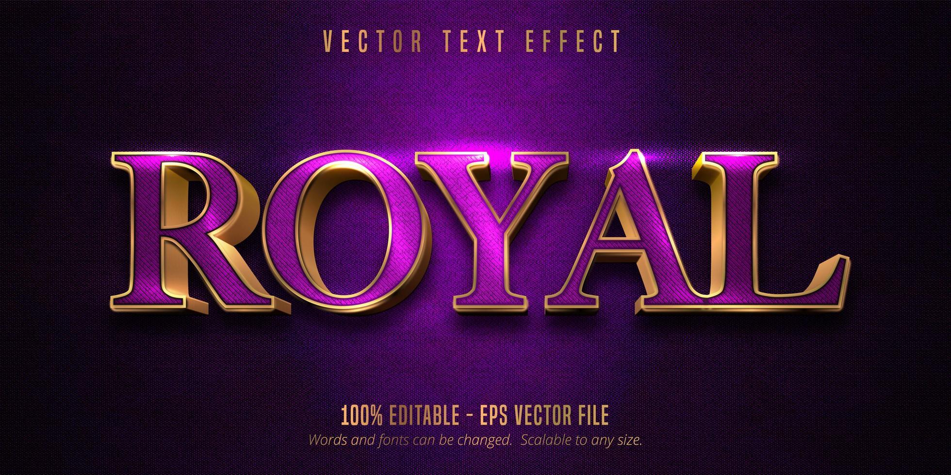 effetto di testo modificabile contorno viola reale e oro lucido vettore